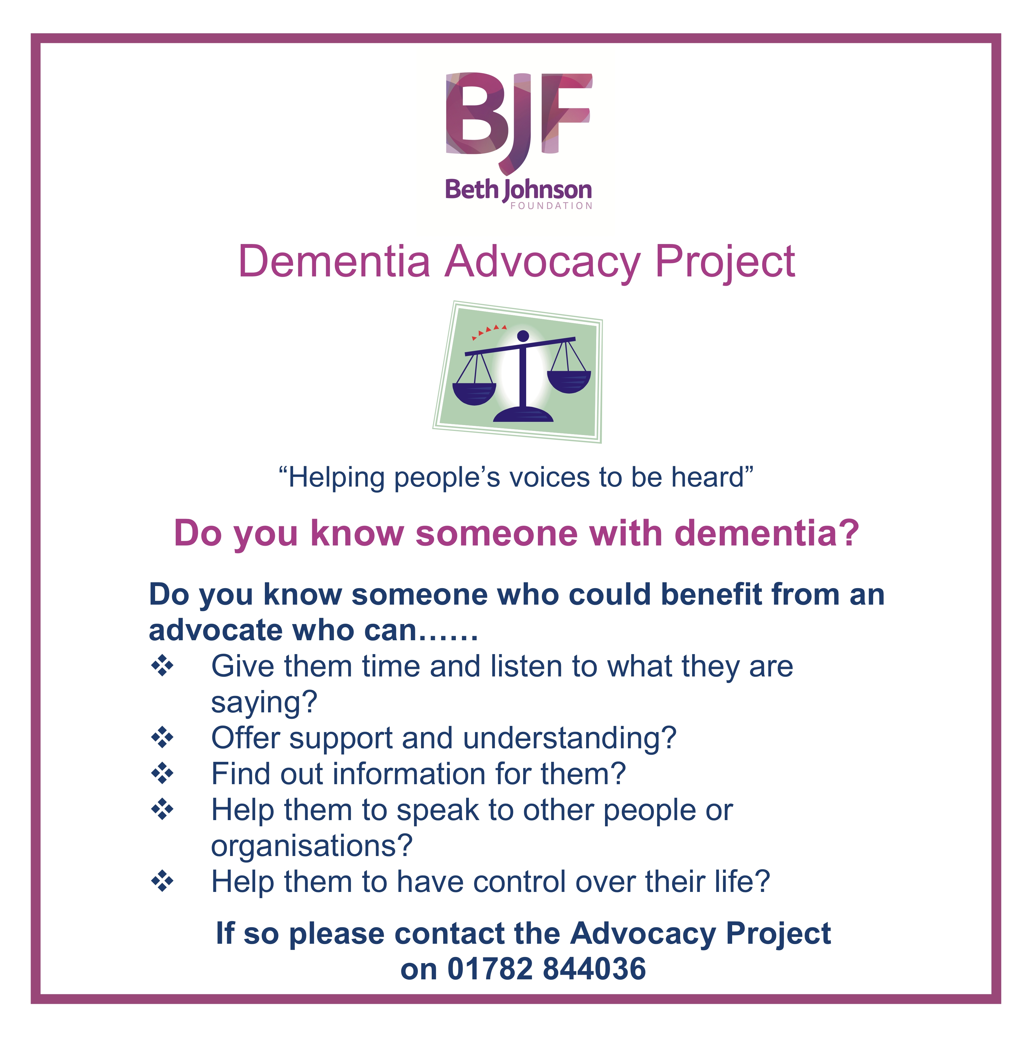 Dementia Advocacy Leaflet